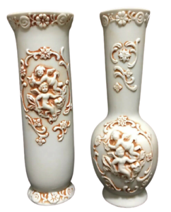 """Cherub Bud Vases Bisque Porcelain Set Of 2 Vintage Collectible 6-1/2"""" Tall NICE!"""