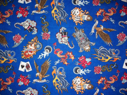 TATTOO SKULL INK ROSE HARLEY BLUE MOTORCYCLE COTTON FABRIC FQ OOP