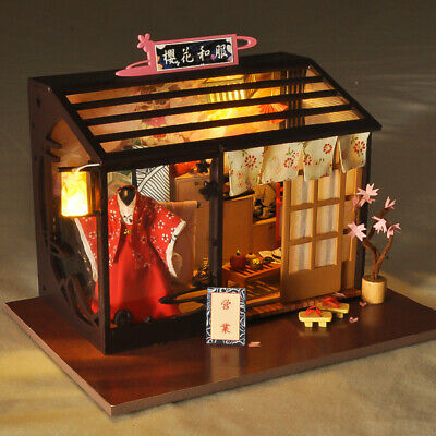 DIY Wooden Miniature Sailboat Dollhouse Furniture LED Kits Children Puzzle Toy