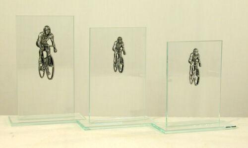 3 Glas-Trophäen Radsport 15-17 19 cm