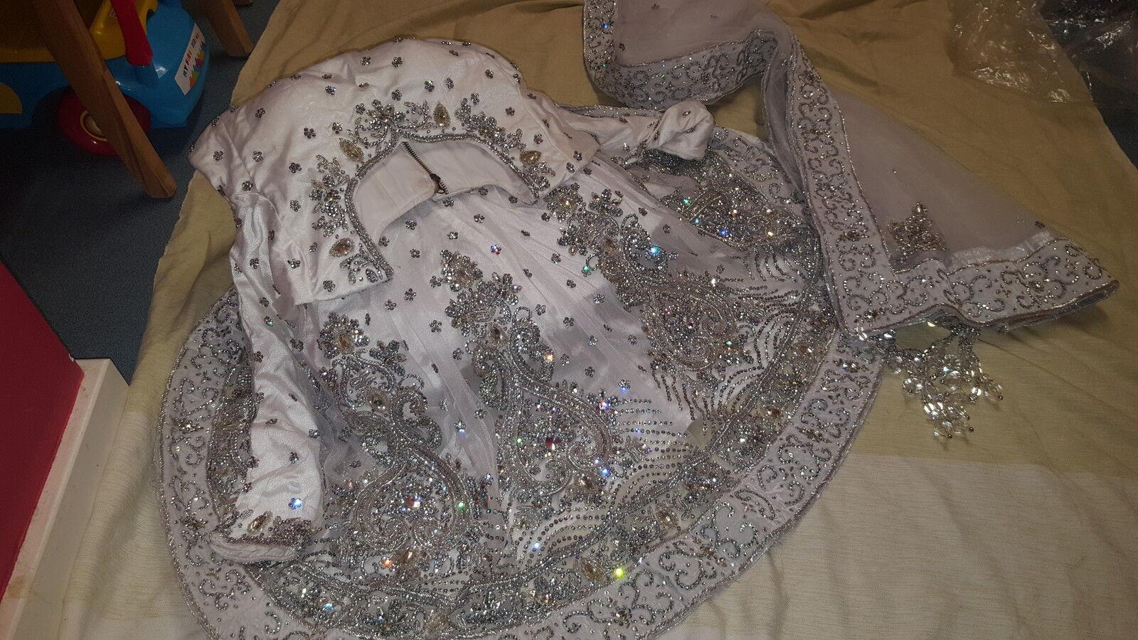 Bridal Indian Pakistani southasian Elegant White Stone dazzling fishtail lehenga