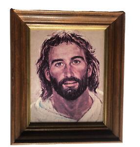Richard-amp-Frances-Hook-HEAD-OF-CHRIST-Face-Jesus-Lithogtaph-13x11-Inch-FRAMED