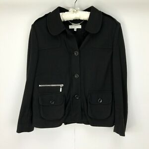 See-By-Chloe-Jacket-UK-Size-12-Black-Buttons-Pockets-Zip-Collar-Womans