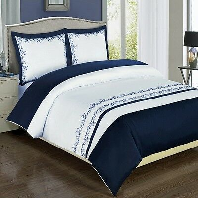 4pc Navy Blue/White Embroidered 100% Egyptian Cotton Comforter Set Full Queen
