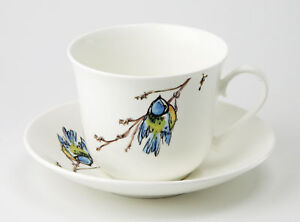 Roy-Kirkham-Blue-Tit-Bird-Jumbo-450ml-Cup-amp-Saucer-Bone-China-Gift-Tea-Coffee