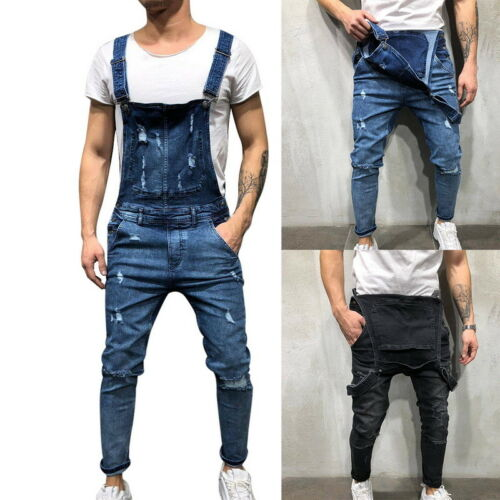 Mens Ripped Jeans Pants Suspender Trousers Street Distressed Denimsuit Belt