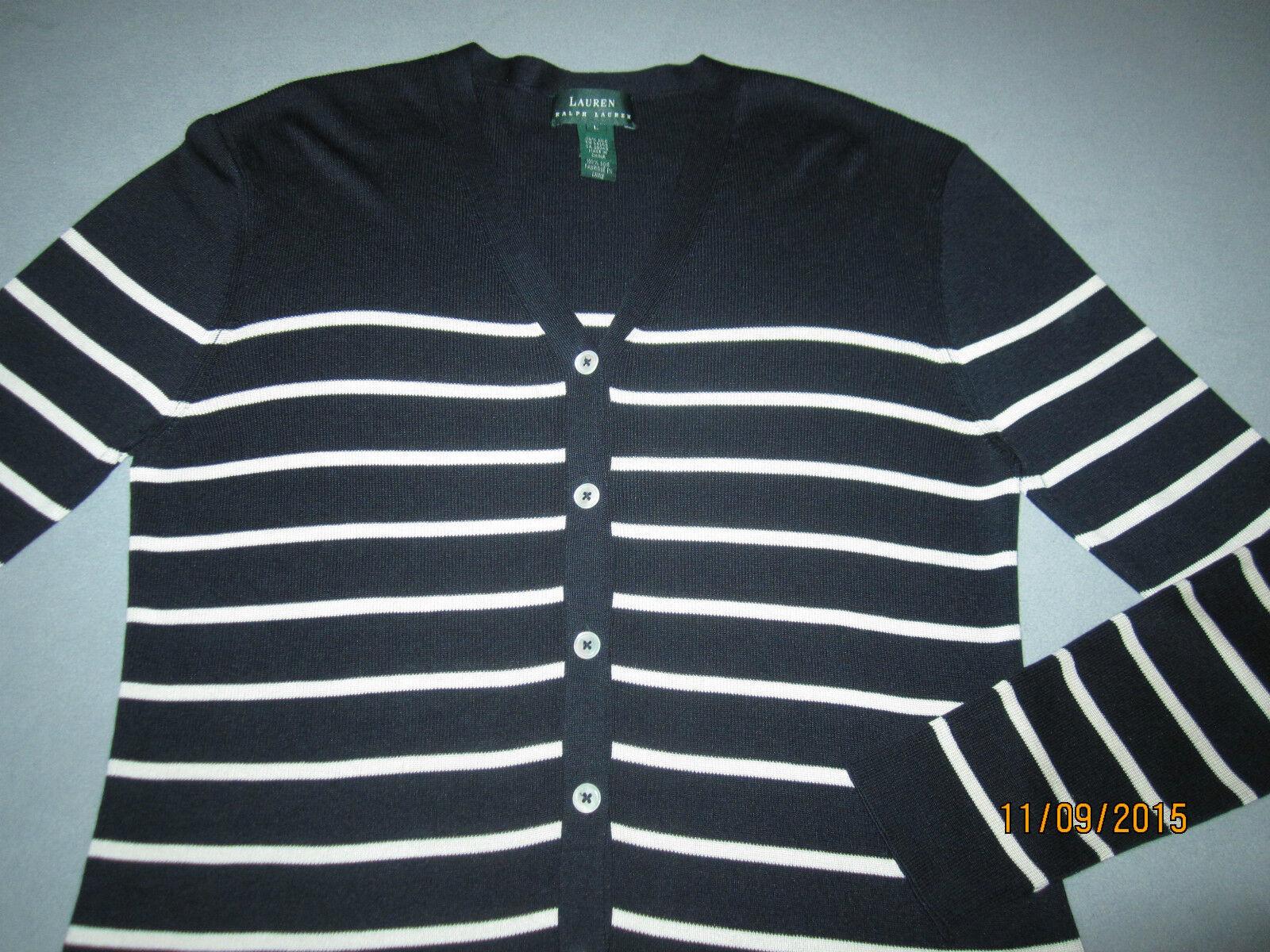 Lauren Ralph Lauren Navy bluee Stripe Knit Silk Cardigan Sweater, Ladies' Size L
