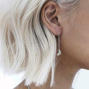 Creative-Ladies-Earrings-Silver-Ear-Threads-Moon-Star-Drop-Chain-Dangle-Jew-G4X7