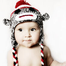 MADE IN USA Classic sock monkey baby hat made with 30/% milk protein fiber