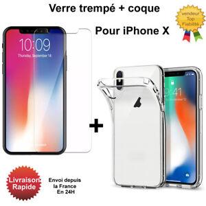 coque iphone x transparente et verre trempe