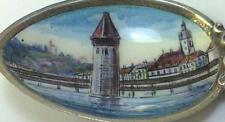 Antique 800 Silver & Enamel Picture Bowl Luzern (Lucerne) Souvenir Spoon– c1910