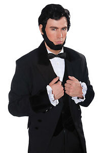 ABRAHAM-Lincoln-PERRUQUE-amp-BARBE-NOIR-National-robe-costume-deguisement