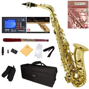 Mendini-Gold-Lacquered-Eb-Alto-Saxophone-Sax-Tuner-CareKit-Case-Book-MAS-L