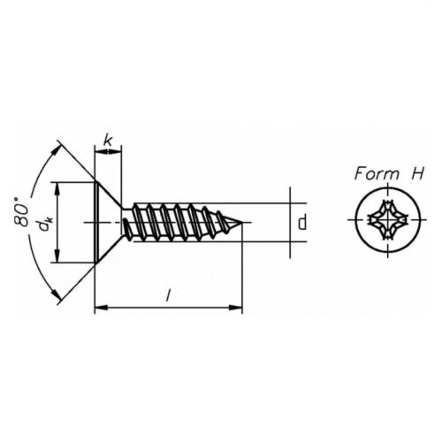 50x DIN 7982 Senkkopf-Blechschrauben PH Form C 4.2 x 70 Stahl galv verzinkt fa