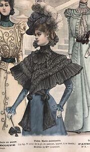 French MODE ILLUSTREE SEWING PATTERN April 17,1898  TOILETTE DE VOYAGE