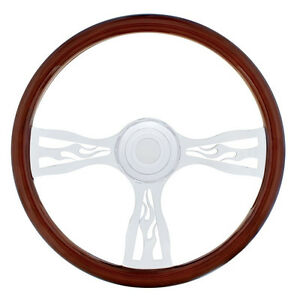 "Freightliner 1989-July 2006 Steering Wheel Flame, 18"", 3 Chrome Spokes"