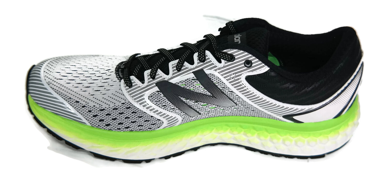 New Balance Men's 1080V7 Running-Shoes, White/Energy Lime, 9 D US