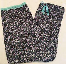NEW PJ Salvage M Medium 100% Soft Flowy Cotton Pajama Lounge Pants BLACK MINT