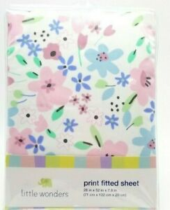 Baby-Girl-Pastel-Flowers-Fitted-Crib-Sheet-28x52x7-9-inch-Little-Friends-Sears