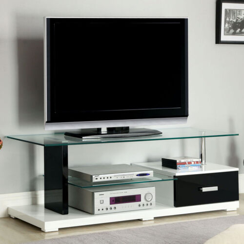 """55/"""" Modern Black White Tempered Glass Top High Gloss Lacquer Coating TV Console"""