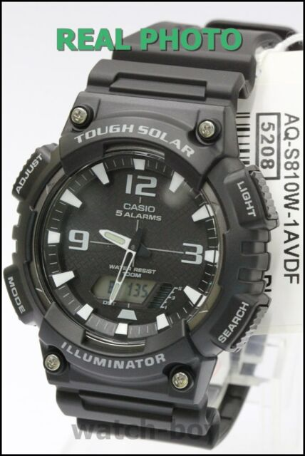 819e4afae78 AQ-S810W-1A Black Casio Men s Watch Tough Solar 5 Alarms Analog Digital  Resin