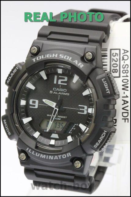 f497c7c0060 AQ-S810W-1A Black Casio Men s Watch Tough Solar 5 Alarms Analog Digital  Resin