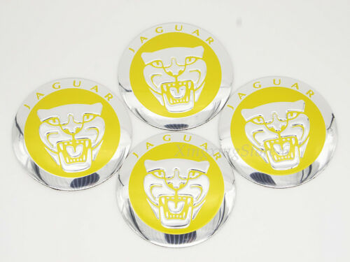 4Pcs 56.5mm Yellow Car Wheel Center Hub Cap Badge Emblem Sticker Fits Jaguar