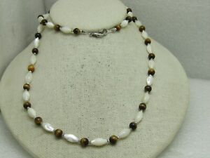 Mother-of-Pearl-Tiger-039-s-Eye-Necklace-30-034-1980-039-s-1990-039-s