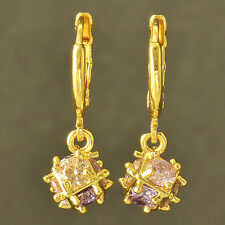Multi Colour crystal Crystal 14K Yellow Gold Filled Ball Dangle earing