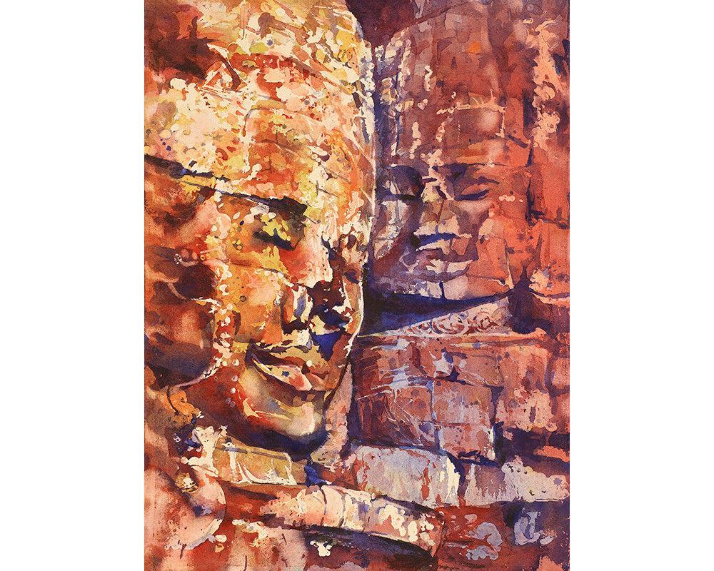 Bayon temple at Angkor Wat, Cambodia.  Fine art reproduction (print)
