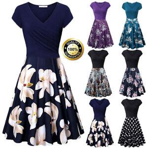 Summer-Casual-Women-039-s-Short-Sleeve-V-Neck-Vintage-Elegant-Flared-A-Line-Dress