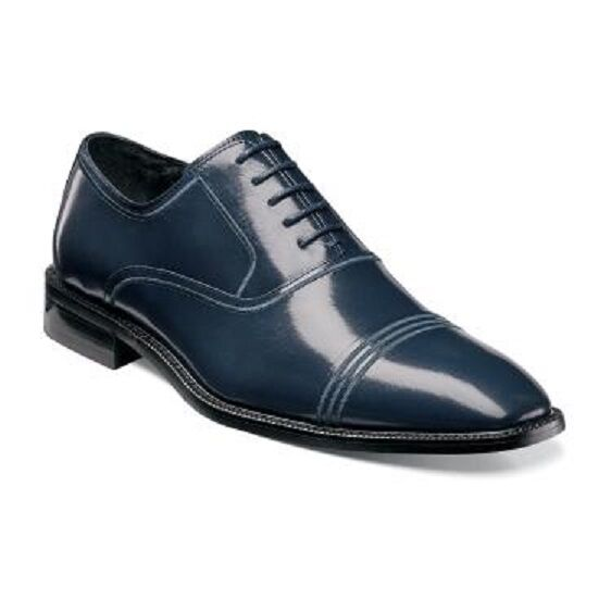 Stacy Adams mens schuhe Bingham Navy Blau Buffalo Leather Cap toe 25007-410