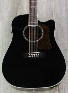 Musical Instruments & Gear Confident Washburn Heritage 10 12string Dreadnought Cutaway Acoustic-electric Guitar Black Guitars & Basses