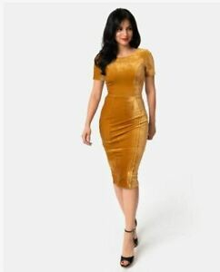 NWT-Mustard-Velvet-Holiday-Party-Midi-Wiggle-Pencil-Dress-Size-X-Large