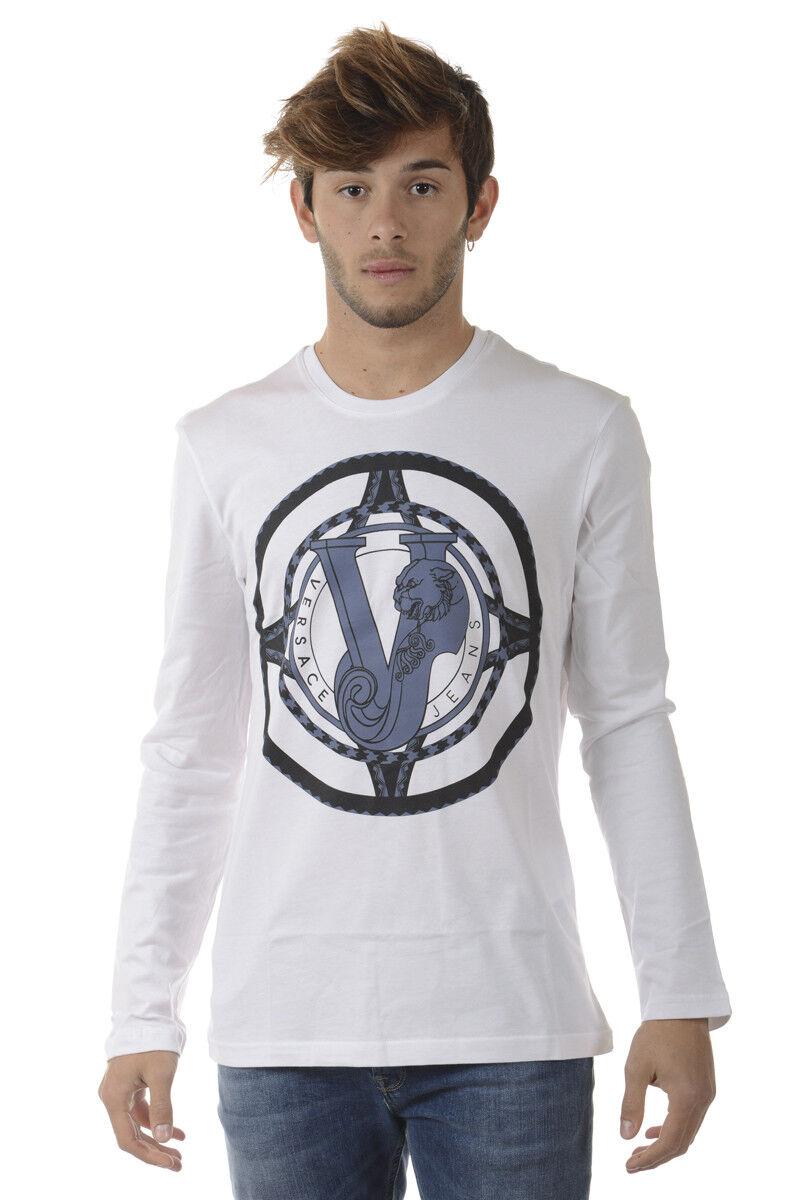 T shirt Maglietta Versace Jeans Sweatshirt SLIM Cotone  Herren Bianco B3GQA782 3