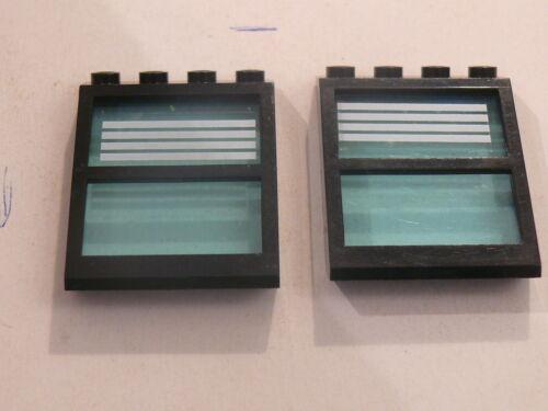Lego 2 fenetres noires de toit  set 6598 2 black windows w// stripes stickers