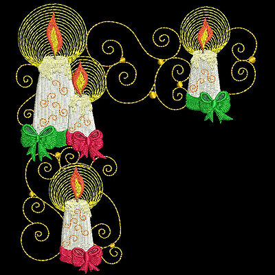 CURLY CANDLES - 30 MACHINE EMBROIDERY DESIGNS (AZEB)