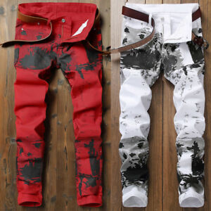 Mens-White-Black-Ink-Wash-Printing-Skinny-Slim-Fit-Jeans-Distressed-Denim-Pants