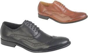 Hommes Habillé Brogue Chaussures Style Classique Smart Travail en Noir Ou Fauve
