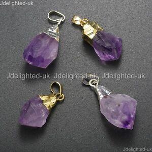Natural-Amethyst-Gemstones-Healing-Reiki-Chakra-Beads-Nugget-Pendant-Charm-Beads