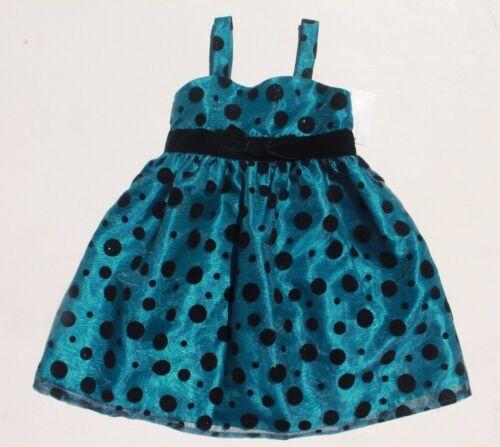 NWT Girls 4-6X Dark Teal Blue Black Flocked Polka Dot Fancy Dressy Party Dress