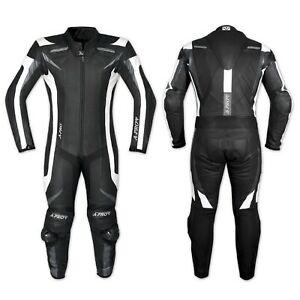 A-PRO leather Suit CE Armored Cowhide Mororcycle Apparel Quality Black