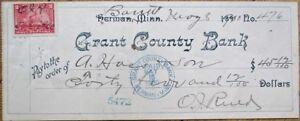 Herman-MN-1900-Check-w-Revenue-Stamp-Grant-County-Bank-Minnesota-Minn