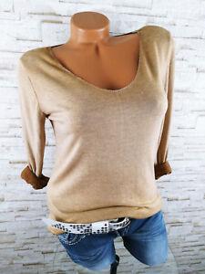 b7c37bf05ce4c3 Das Bild wird geladen Italy-Pullover-Damen-Feinstrick-Pulli-Basic -Viskose-CAMEL-