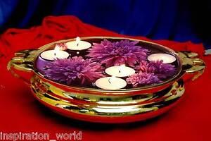 InspirationWorld Vintage Brass Antique Decor Urli,Flower Bowl,Tray