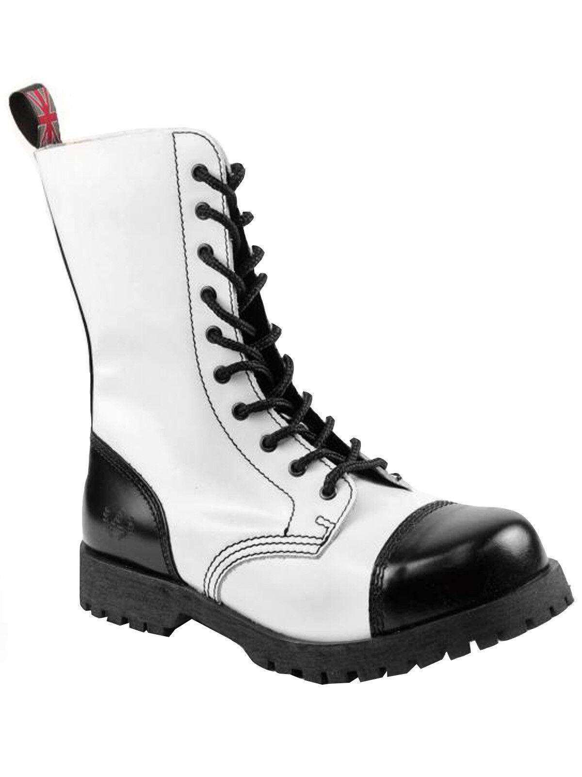 Alpha Ranger Springerstiefel 10-Loch Boot / Rangers Stiefel Schwarz / Weiß #5013