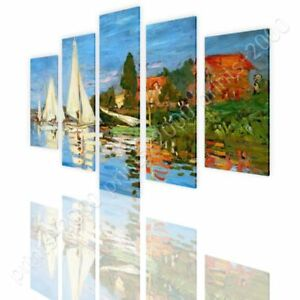 Regatta-At-Argenteuil-by-Claude-Monet-Ready-to-hang-canvas-5-Panels-Wall-art