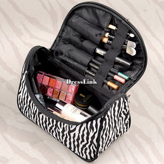 Annata Donne Zebra Makeup caso cosmetico toilette borsa da viaggio Organizer
