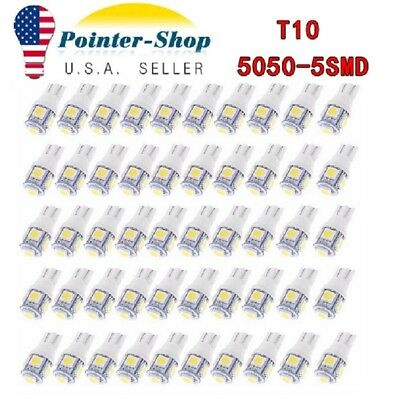 20pc T10 10SMD Xenon White LED Interior Dome Map License Light Bulbs W5W 158 192