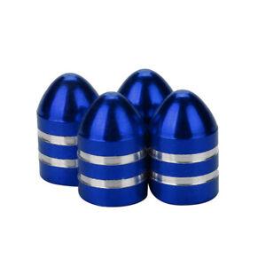 Lot-de-4-bouchons-de-valve-en-aluminium-balle-munition-bleu-Auto-Moto-Velo